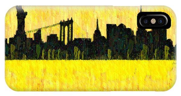 Capitalism iPhone Case - New York Skyline Silhouette Orange - Da by Leonardo Digenio