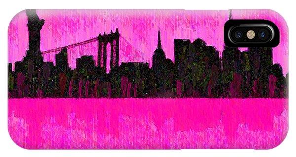 Capitalism iPhone Case - New York Skyline Silhouette Pink - Da by Leonardo Digenio
