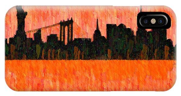 Capitalism iPhone Case - New York Skyline Silhouette Red - Da by Leonardo Digenio