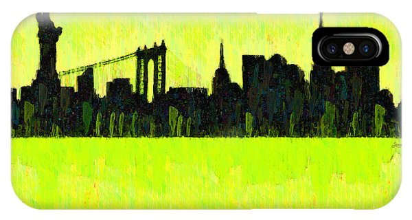 Capitalism iPhone Case - New York Skyline Silhouette Yellow-green - Da by Leonardo Digenio