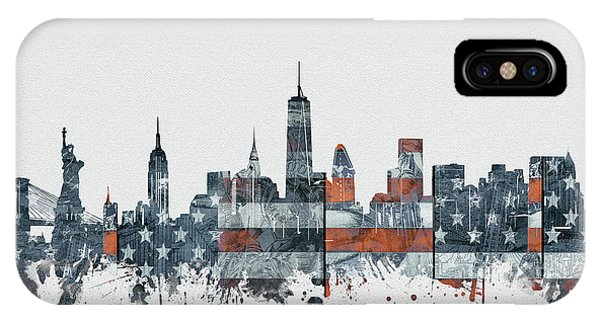 July 4 iPhone Case - New York Skyline Usa Flag 2 by Bekim Art