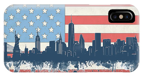 July 4 iPhone Case - New York Skyline Usa Flag 4 by Bekim Art