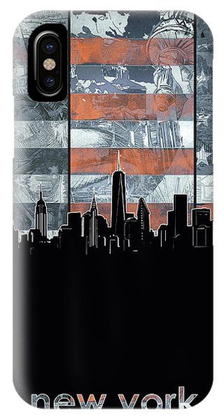 July 4 iPhone Case - New York Skyline Usa Flag 5 by Bekim Art