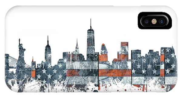 July 4 iPhone Case - New York Skyline Usa Flag by Bekim Art