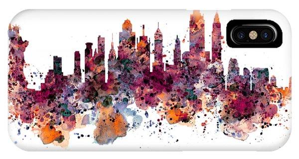Manhattan Skyline iPhone Case - New York Skyline Watercolor by Marian Voicu