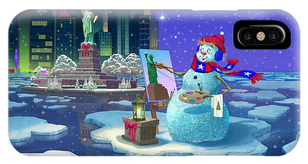 Statue Of Liberty iPhone Case - New York Snowman by Michael Humphries