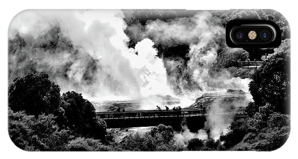 New Zealand - Figures Against Hot-steam - Black And White IPhone Case