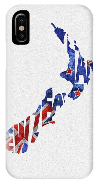 New Zealand Typographic Map Flag IPhone Case