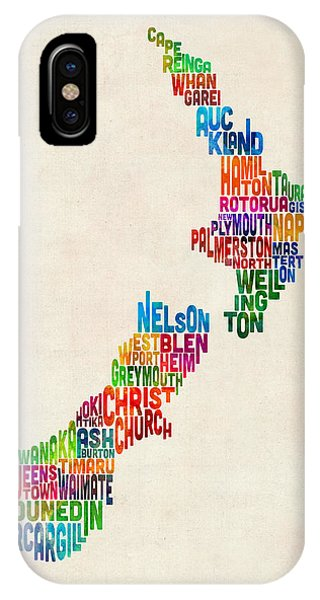 Fruit iPhone Case - New Zealand Typography Text Map by Michael Tompsett