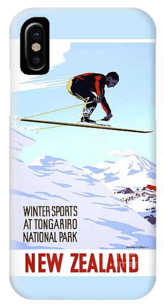 New Zealand Winter Sports Vintage Travel Poster IPhone Case
