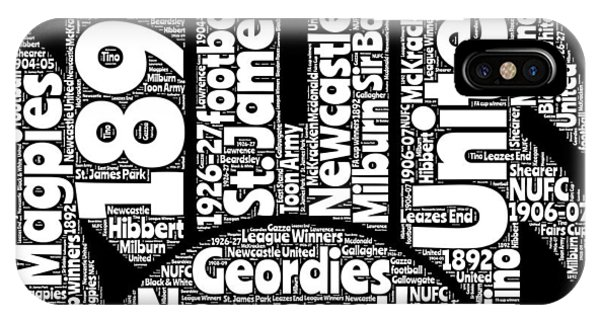 Word Art iPhone Case - Newcastle United Football Club Word Art by Stew Lamb