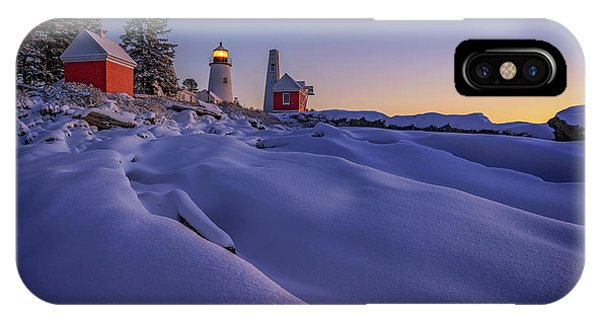 Navigation iPhone Case - Newfallen Snow At Pemaquid Point by Rick Berk
