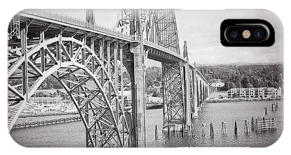 Newport Bridge In Black And White IPhone Case