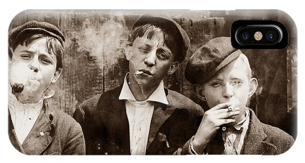 Vintage iPhone Case - Newsboys Smoking - 1910 Child Labor Photo by War Is Hell Store