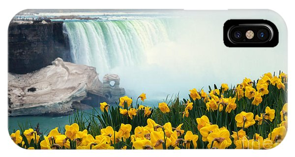 Niagara Falls Spring Flowers And Melting Ice IPhone Case