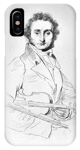 Violin iPhone X Case - Nicolo Paganini (1782-1840) by Granger