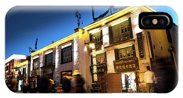 Kora iPhone Case - Night At Jokhang Temple Lhasa Kora Tibet Artmif.lv by Raimond Klavins