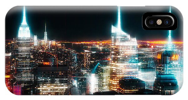 IPhone Case featuring the mixed media Night Glow New York City by Dan Sproul
