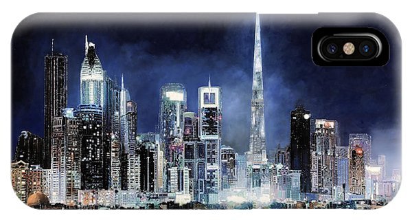 Skyscraper iPhone Case - night in Dubai City by Guido Borelli