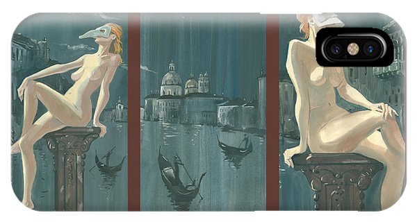 Night In Venice. Triptych IPhone Case