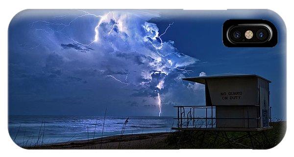 Night Lightning Under Full Moon Over Hobe Sound Beach, Florida IPhone Case