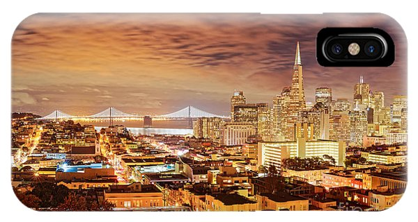 Night Panorama Of San Francisco And Oak Area Bridge From Ina Coolbrith Park - California IPhone Case