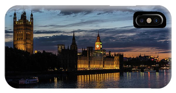 London Eye iPhone Case - Night Parliament And Big Ben by Mike Reid