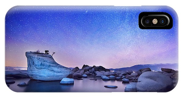 Night Shine , Bonsai Rock Lake Tahoe IPhone Case