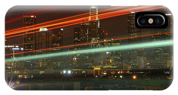 Night Shot Of Downtown Los Angeles Skyline From 6th St. Bridge IPhone Case