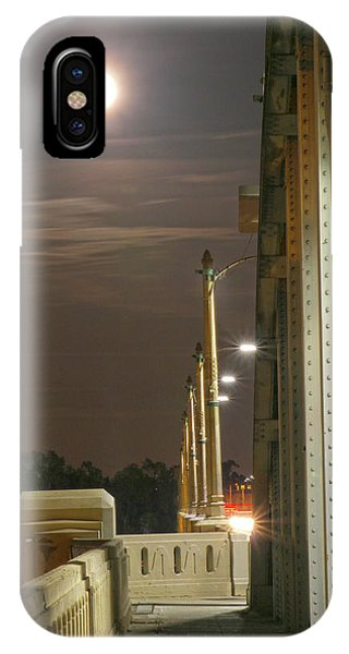 Night Shot Of The Los Angeles 6th Street Bridge And Supermoon #3 IPhone Case