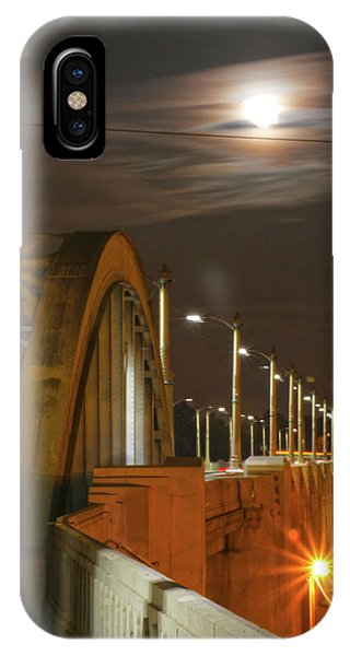 Night Shot Of The Los Angeles 6th Street Bridge And Supermoon #4 IPhone Case