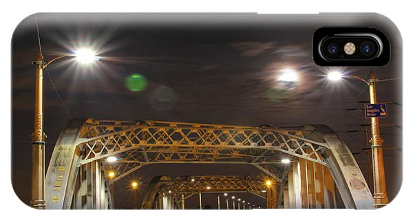 Night Shot Of The Los Angeles 6th Street Bridge And Supermoon #5 IPhone Case