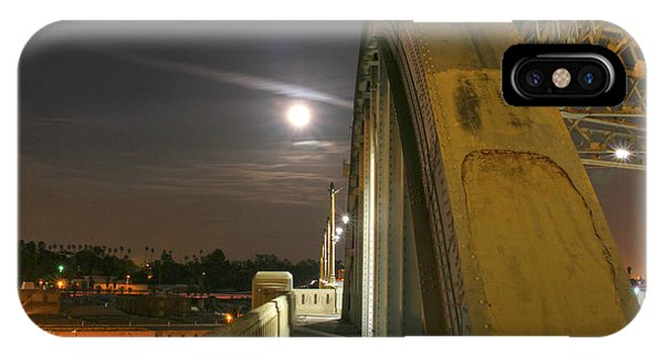 Night Shot Of The Los Angeles 6th Street Bridge And Supermoon #6 IPhone Case