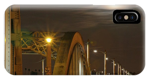 Night Shot Of The Los Angeles 6th Street Bridge And Supermoon #7 IPhone Case