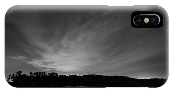 IPhone Case featuring the photograph Night Sky Over The Lake In Black And White by Todd Aaron