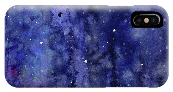 Space iPhone Case - Night Sky Watercolor Galaxy Stars by Olga Shvartsur