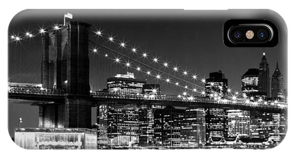 Night Skyline Manhattan Brooklyn Bridge Bw IPhone Case