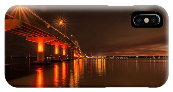 Night Time Reflections At The Bridge IPhone Case