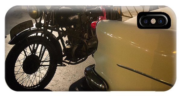 Night Time Silhouette Of Vintage Motorcycle Near Tail Of 50's St IPhone Case