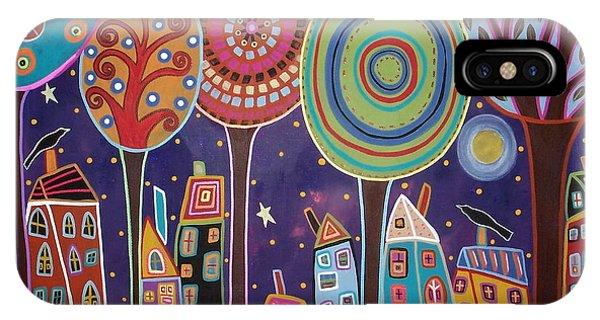 Blackbird iPhone Case - Night Village by Karla Gerard