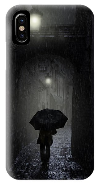 IPhone Case featuring the photograph Night Walk In The Rain by Jaroslaw Blaminsky