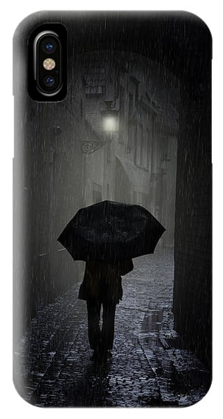 Night Walk In The Rain IPhone Case