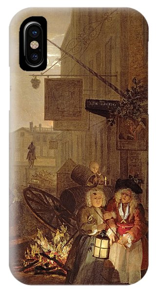 Poverty iPhone Case - Night by William Hogarth