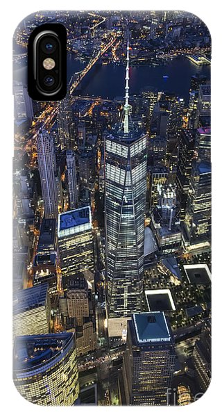 Nighttime Aerial View Of 1 Wtc IPhone Case