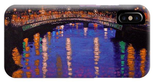 Irish iPhone Case - Nighttown Ha Penny Bridge Dublin by John  Nolan