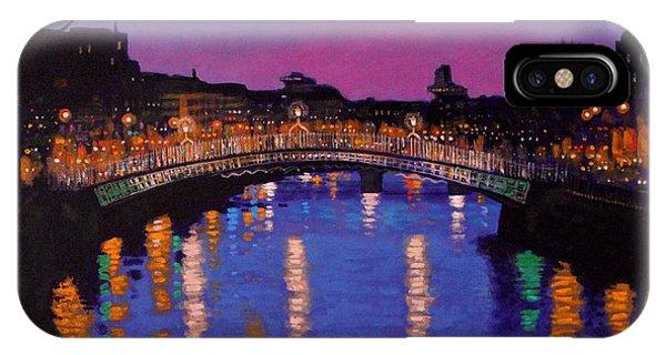 Water iPhone Case - Nighttown Ha Penny Bridge Dublin by John  Nolan