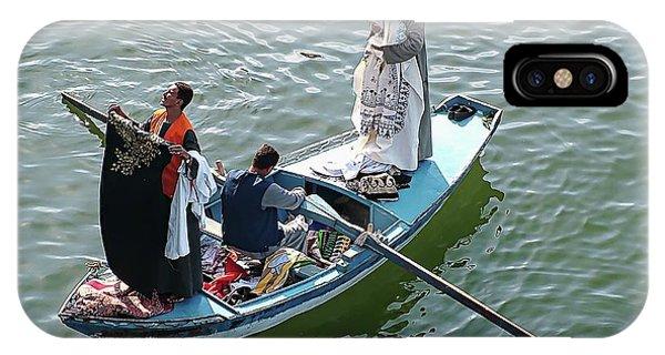 IPhone Case featuring the digital art Nile River Garment Vendors - Egypt by Joseph Hendrix