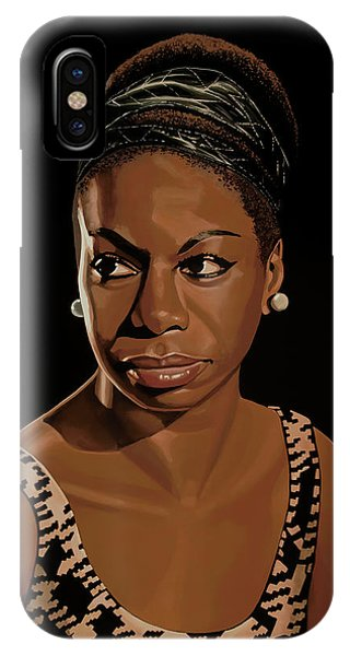 Rhythm And Blues iPhone X / XS Case - Nina Simone Painting 2 by Paul Meijering