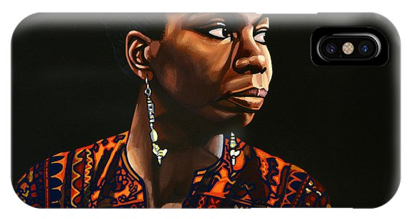 Rights iPhone Case - Nina Simone Painting by Paul Meijering