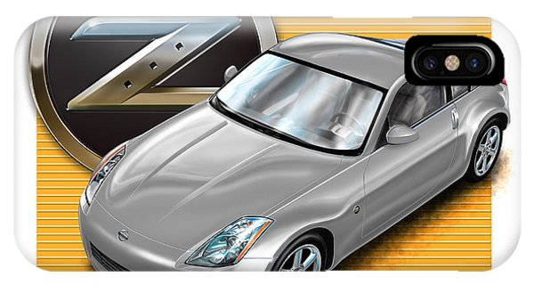 Nissan iPhone Case - Nissan Z350 In Silver by David Kyte